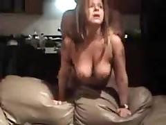 Mature bitch with big natural boobs is fucked from behind, her man is rough with her.