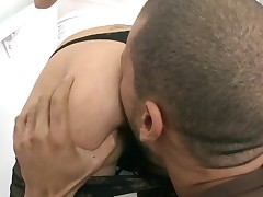 Breathtaking wench with great oiled butt gets her vagina nailed